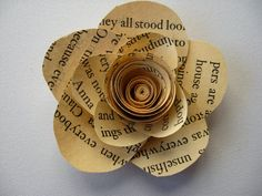 Small petaled vintage book flower home decor gift by daintyhippo, $5.00