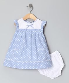 Take a look at this Blue Polka Dot Angel-Sleeve Dress & Diaper Cover - Infant by Les Petits Soleils on #zulily today!