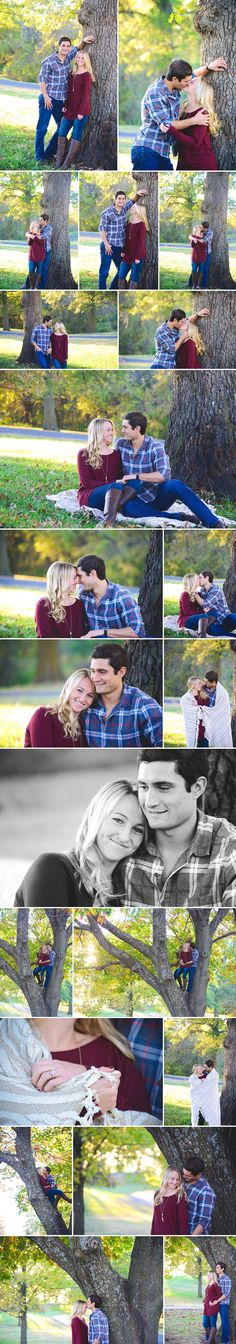 What to wear to an engagement shoot, fall pictures, boots, long necklace, plaid, engagement, sunset, engagement pictures with blanket, halo engagement ring, kiss, how to pose, wedding photography, Engagement Pictures at Shawnee Mission Park