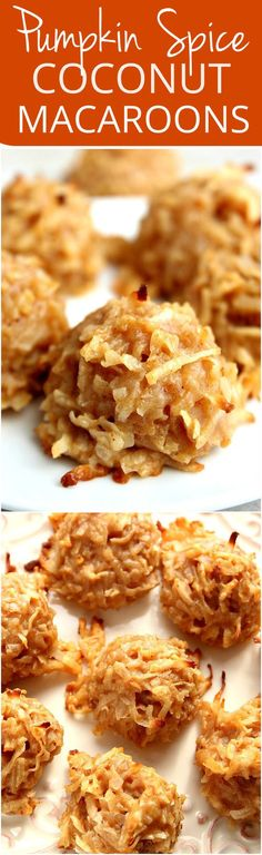 Pumpkin Spice Coconut Macaroon Cookies Recipe - coconut macaroons with real pumpkin and spices! Perfect sweet treat for the holidays!