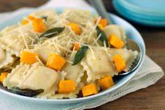 Sweet potato and goat cheese ravioli in sage broth
