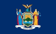 """New York's State Flag (Entered the Union on July 26, 1788, 11 state) ~ Origin of Name: In honor of England's Duke of York ~ State Motto: Ever upward ~ State Song: """"I Love New York"""" ~ National Forest: 1; State Forest: 132; State Parks: 168 ~ Famous for: Niagara Falls, Broadway Musicals, Statue of Liberty, Baseball Hall of Fame, United Nations, NY Stock Exchange"""