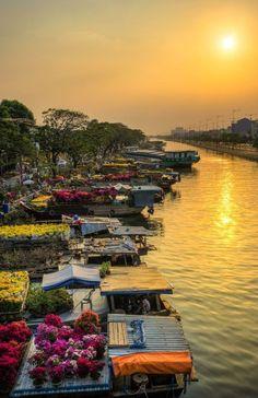 O mercado flutuante de flores de Binh Dong ao longo do Canal Tau Hu, em Ho Chi Minh, Vietã, é um lugar onde os jardineiros da região ocidental do país se reúnem para vender suas flores e árvores ornamentais no feriado do Ano Novo Lunar, chamado Tet no Vietnã. O mercado tem existido por centenas de anos. O Canal Tau Hu é uma rota famosa para os agricultores ocidentais para entregar arroz destinado a Saigon (hoje Ho Chi Minh) no passado.