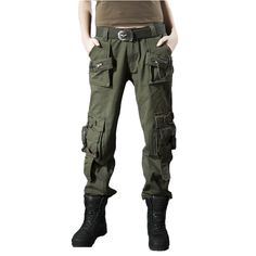 Aigrettes women's multi-pocket trousers tactical pants casual pants plus size loose sports overalls