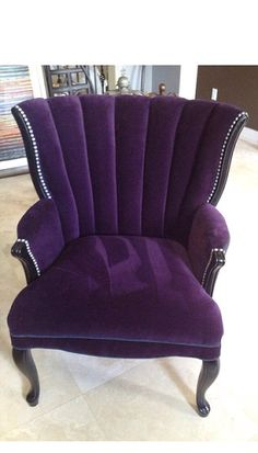 Sold Can Replicate Vintage Channel Chair Wing Back Chair With Purple Velvet And Charcoal Velvet Brushed Silver Nail Heads - Modern Furniture: Affordable, Unique, Edgy Interior Design Minimalist, Minimalist Decor, Minimalist Kitchen, Minimalist Living, Minimalist Bedroom, Modern Minimalist, Purple Furniture, Cool Furniture, Antique Furniture