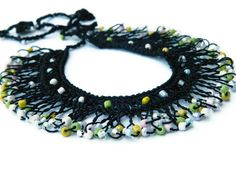 Black Multicolor Bib Necklace Beaded Turkish by emofoFashionDesing, $32.00