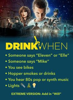 A game to turn you Upside Down. Play the Stranger Things Drinking Game. Drink When You see bikes, Hopper smokes or drinks, You hear 80s synth music... More games at www.drinkwhen.ca -- halloween games, halloween drinking games, Netflix, adult games Adult Party Games, Birthday Party Games, Adult Games, Halloween Games, Halloween Drinking Games, Drunk Games, Funny Games, Adult Drinking Games, More Games