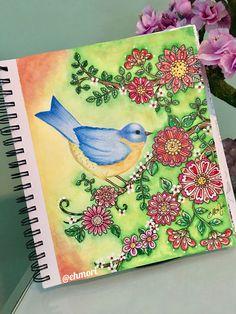 Pássaro e flores!  Colorindo Loris Art Garden. #lorisartgarden #lorigardnerwoods