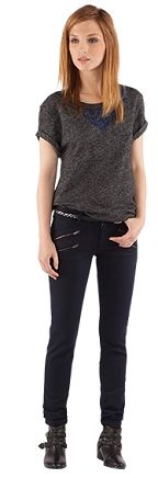 zippered slim leg trousers