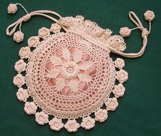 Rings and Roses Irish Crochet Purse by Kathryn White