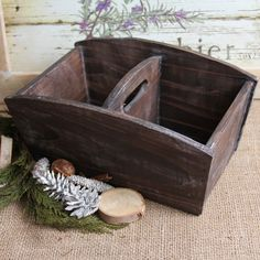 A rustic wooden caddy is a great idea for the kitchen, office or craft room. Length: 10