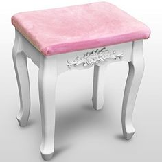 Woltu MB6003 Pink Bedroom Padded Dressing Table Stool L x W x H: 37 x 30 x 43cm: Amazon.co.uk: Kitchen & Home