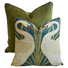 Custom Tailored Forest Green Velvet & Swans Feather/Down Pillows - Set of 2 Small Cushions, Pink Cushions, Velvet Cushions, Decorative Cushions, Decorative Accents, Cushions On Sofa, Cushion Cover Pattern, Cushion Covers, Green Velvet Pillow