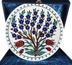 Custom Design Tree of Life Patterned Iznik Tile Plate - Beauty Black Pins Ceramic Tile Art, Ceramic Painting, Ceramic Plates, Decoupage Art, Anime Neko, Pottery Painting, British Museum, Tree Of Life, Islamic Art