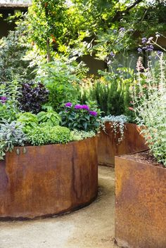planters look so beautiful in this modern cottage garden design., Corten planters look so beautiful in this modern cottage garden design., Corten planters look so beautiful in this modern cottage garden design. Small Gardens, Outdoor Gardens, Courtyard Gardens, Modern Gardens, Farm Gardens, Plantas Indoor, Corten Steel Planters, Garden Cottage, Garden Planters