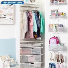 """Available only at The Container Store, this Elfa Classic 2' Closet with Door & Wall Rack offers maximum storage in minimum space with hanging space, drawers, and a door rack. All Elfa components are adjustable, so the solution is completely flexible! This is designed to fit a 27"""" space. Closet Drawers, Closet Rod, Kid Closet, Closet Shelves, Closet Space, Closet Ideas, Rack Solutions, No Closet Solutions, Small Space Solutions"""