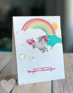 Carte d'anniversaire super amusante propre et simple avec le lot Rainbows & Sunshine de Stampin 'UP!  Wendy Cranford www.luvinstampin.com