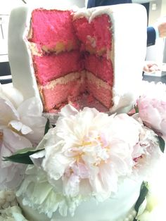 inside the cake, 3 layers of pink