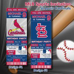 St. Louis Cardinals MLB Birthday Invitation, Baseball, Ticket Invitation, Sport,Birthday, Digital, Invite Printable 300 dpi JPG, #172