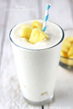 Skinny Pineapple Smoothie: 1 C frozen pineapple, 1/2 med banana, 1/2 C crushed ice, 1/2 cup vanilla yogurt, 1 1/2 C skim milk OR coconut milk