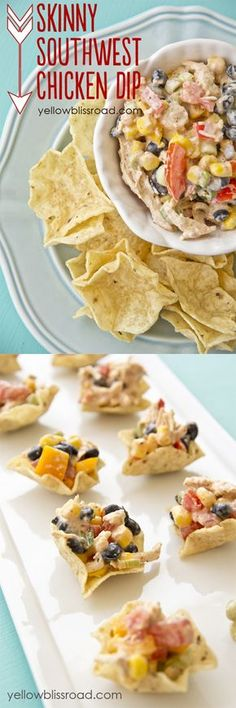 Skinny Southwest Chicken Appetizer Recipe _ Serve as a dip with tortilla chips or pita crisps. Add lettuce & wrap in a tortilla. Add cooked whole wheat pasta & make it a meal. Serve on a bed of lettuce or in a pita pocket for a lo-carb lunch. Eat it as is!