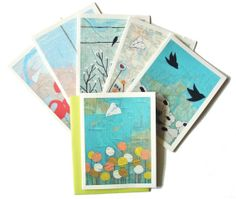 Boxed Notecard Set  Map Paintings by rachelaustin on Etsy, $15.00