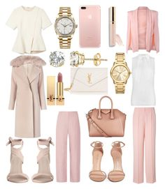 *Blushing* by leeleesback on Polyvore featuring polyvore fashion style Alexander Wang MICHAEL Michael Kors Diane Von Furstenberg DKNY Acne Studios Zimmermann Stuart Weitzman Givenchy Yves Saint Laurent Rolex Michael Kors Renaissance Collection Beautycounter clothing