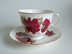Tea Cup and Saucer Saucer Vintage Teacup and Saucer Royal Vale Red Rose by treasurecoveally on Etsy