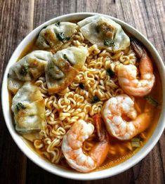 Real Food Recipes, Cooking Recipes, Good Food, Yummy Food, Yummy Yummy, Snap Food, Dumplings, Noodles, Shrimp