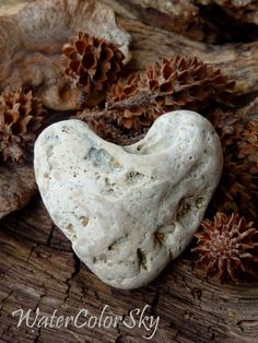Photo Card Hawaii Beach Stone Heart by WaterColorSkyBlue on Etsy, $4.00
