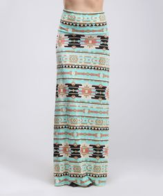 Loving this Teal Tribal Maxi Skirt on #zulily! #zulilyfinds