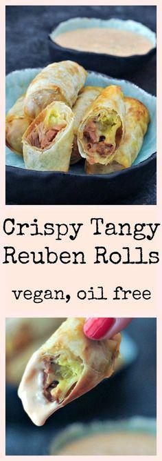 Crispy Tangy Reuben Rolls - a tasty jackfruit update on our popular Reuben Roll recipe, with oil free air fryer, bake, and gluten free options. Vegan Apps, Vegan Foods, Vegan Snacks, Vegan Dishes, Vegan Vegetarian, Vegetarian Recipes, Healthy Recipes, Vegan Meals, Vegan Appetizers