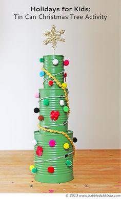Babble Dabble Do tin can Christmas tree craft for kids