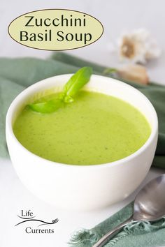 Velvety smooth Zucchini Basil Soup is a healthy and delicious vegan & gluten free soup that's simple to make, flavorful, and uses lots of fresh summer zucchini. It's the perfect light summer meal. Creamy Soup Recipes, Best Soup Recipes, Vegetable Soup Recipes, Chicken Soup Recipes, Healthy Soup Recipes, Vegetarian Soup, Vegetarian Recipes, Slow Cooker Pressure Cooker, Quick And Easy Soup