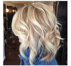 Medium blonde hair cut and color. Cute color!