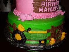 pink john deere — Birthday Cake Photos