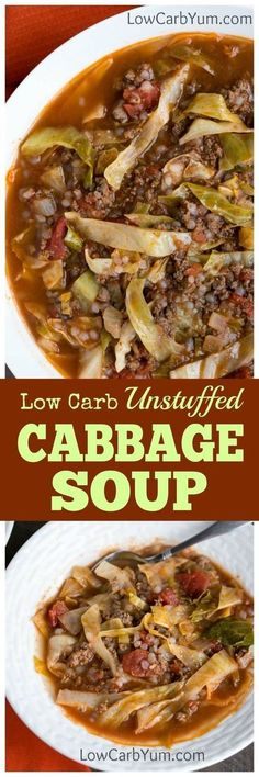 Are you a cabbage roll fan but hate all the work involved to make them? If so, you need to try this easy unstuffed cabbage soup recipe. | http://LowCarbYum.com