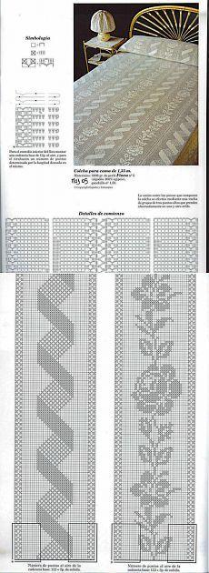 Crochet Bedspread Pattern, Fillet Crochet, Crochet Mittens, Graph Paper, Bargello, Irish Crochet, Bed Spreads, Cross Stitch Embroidery, Crochet Projects