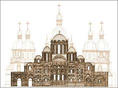 Blueprint showing Saint Sophia Cathedral in Novgorod (1050 A.D.), old and new