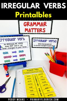 This Irregular Verbs Printables Grammar Pack is packed with easy-prep, easy to use printables! You will find everything you need to engage and delight your students as they learn/review irregular verbs. These engaging activities will help you guide your students through an Instructional Sequence (based on 'best practices') that will maximize their mastery of the standard and have lots of fun in the process! #TeachersPayTeachers #grammar #irregularverbs #partofspeech Grammar Activities, Kids Learning Activities, Learning Resources, Grammar Skills, Teaching Grammar, Teaching Second Grade, Third Grade, Irregular Verbs, English Language