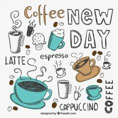 Dibujado a mano tazas de café Vector Gratis