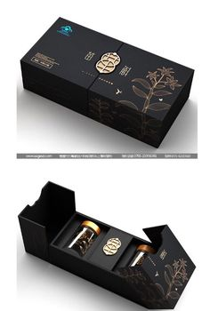 Use of elegant linear patterns with gold accents which bring the packaging to life and give a premium, high end feel. Use of black suggests a mysterious identity, with sleek and modern connotations. Black Packaging, Honey Packaging, Perfume Packaging, Cool Packaging, Tea Packaging, Luxury Packaging, Chocolate Packaging, Food Packaging Design, Beauty Packaging