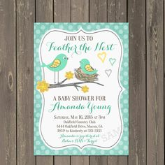 This listing is for a Printable or Printed Little Bird Feather the Nest Invitation in Teal & Yellow  When placing your order, choose between the PRINTABLE or PRINTED Options:  PRINTABLE OPTION: With the printable option, you will receive a jpeg or pdf file of your completed invitation by email so you can print as many as you need. Please include in the notes section of the order, the wording you would like on your invitation as well as if you prefer it sent to you as a single jpeg file (b...