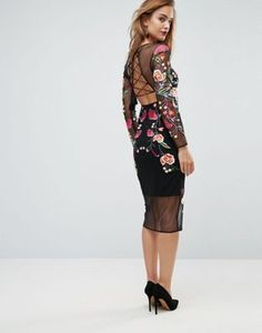 ASOS All Over Multi Sheer Embroidered Midi Dress