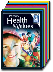 Primary Health and Values covering topics, food groups, change, keeping fit, safety rules, medicines, the media, relationships, bullying, self-esteem, communication, feelings & friendships, caring for the environment.