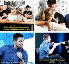 Arrow - Emily Bett Rickards and Stephen Amell #SDCC - C'mon, Stephen! Don't be a party pooper!