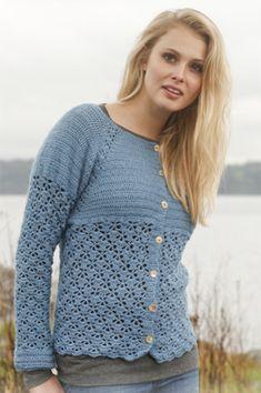 Hækling, hæklet trøje i smuk farve og med fint mønster