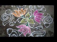 lotus kolam 6 x 11 interlaced dots Indian Rangoli Designs, Rangoli Designs With Dots, Rangoli Designs Images, Rangoli With Dots, Beautiful Rangoli Designs, Simple Rangoli, Alpona Design, Lotus Rangoli, Lotus Art