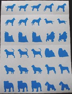 Dichroic Glass Etching Stencils, Vinyl Dog Stencils, With PDF Tutorial for Etching Dichroic Glass Top 12 Breeds