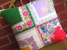 Vintage Handkerchiefs Pillow. $49.95, via Etsy.